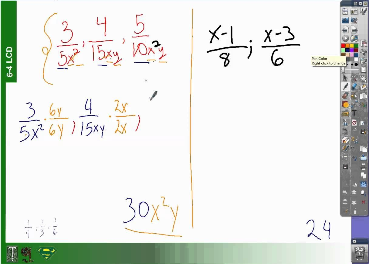 6 4 How To Find Least Common Denominators With Variables