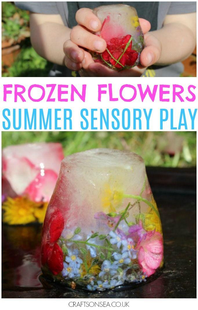 Frozen Flowers Sensory Ice Play | Summer activities for kids ...