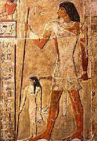Tumba de Nefer. Nefer con su esposa al lado, representada a menor tamaño