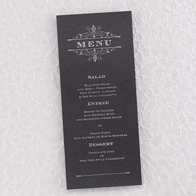 french filigree dinner party menu card black a silver french