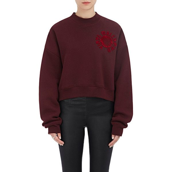 "Alexander Wang Women's ""Vinyl Meltdown\"" Cotton-Blend Fleece Crop... (£325) ❤ liked on Polyvore featuring tops, hoodies, sweatshirts, burgundy, graphic crop top, graphic sweatshirts, burgundy top, crew neck crop top and fleece sweatshirt"