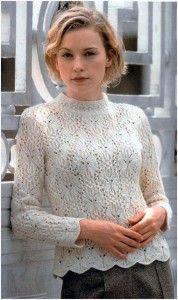 Женский белый вязаный пуловер с рисунком бабочки | Вязание спицами и крючком – Азбука вязания