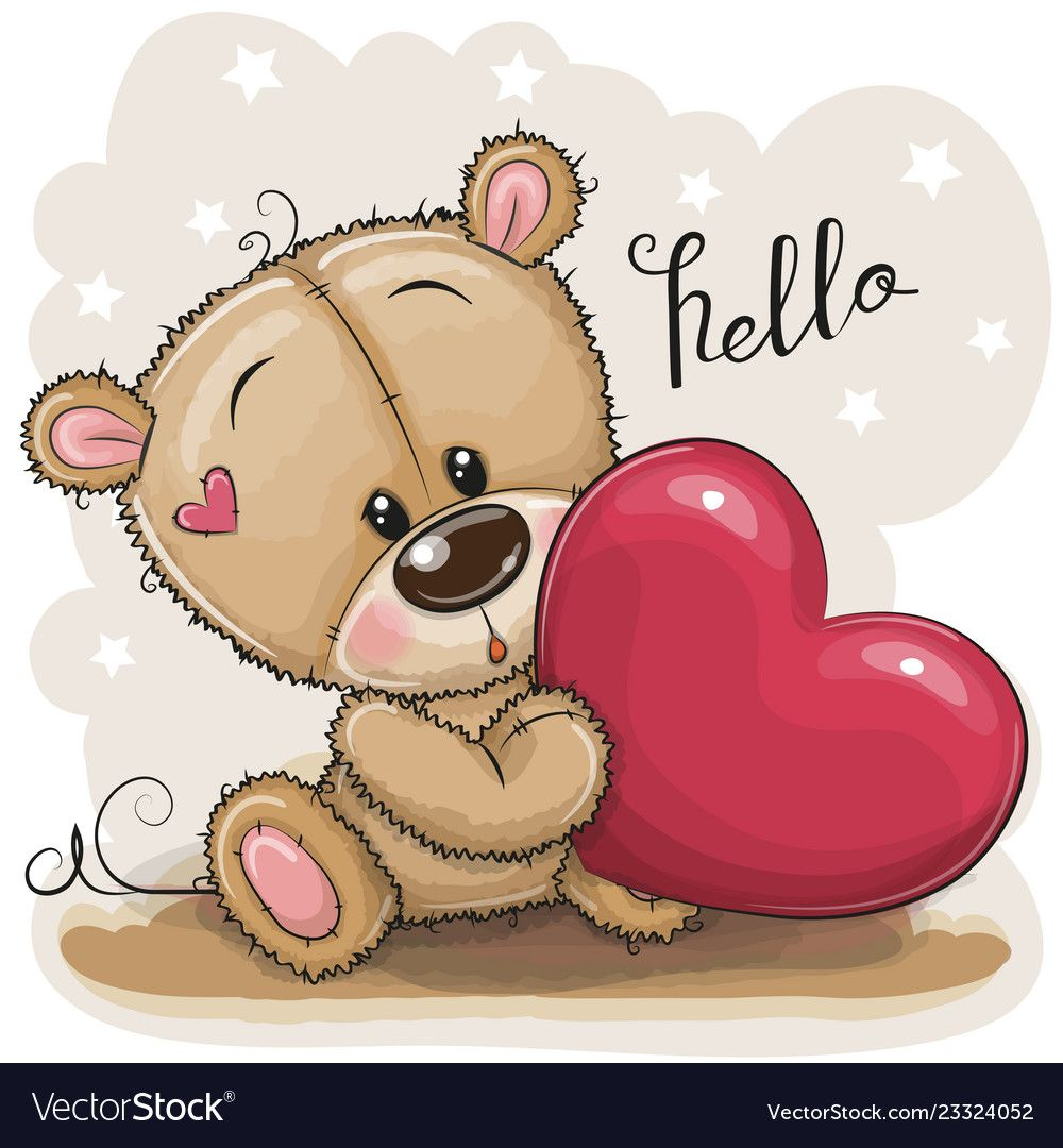 Cute Cartoon Teddy Bear With Heart On A Gray Background Download A Free Preview Or High Quality Adobe Teddy Bear Cartoon Teddy Bear Pictures Cute Teddy Bears