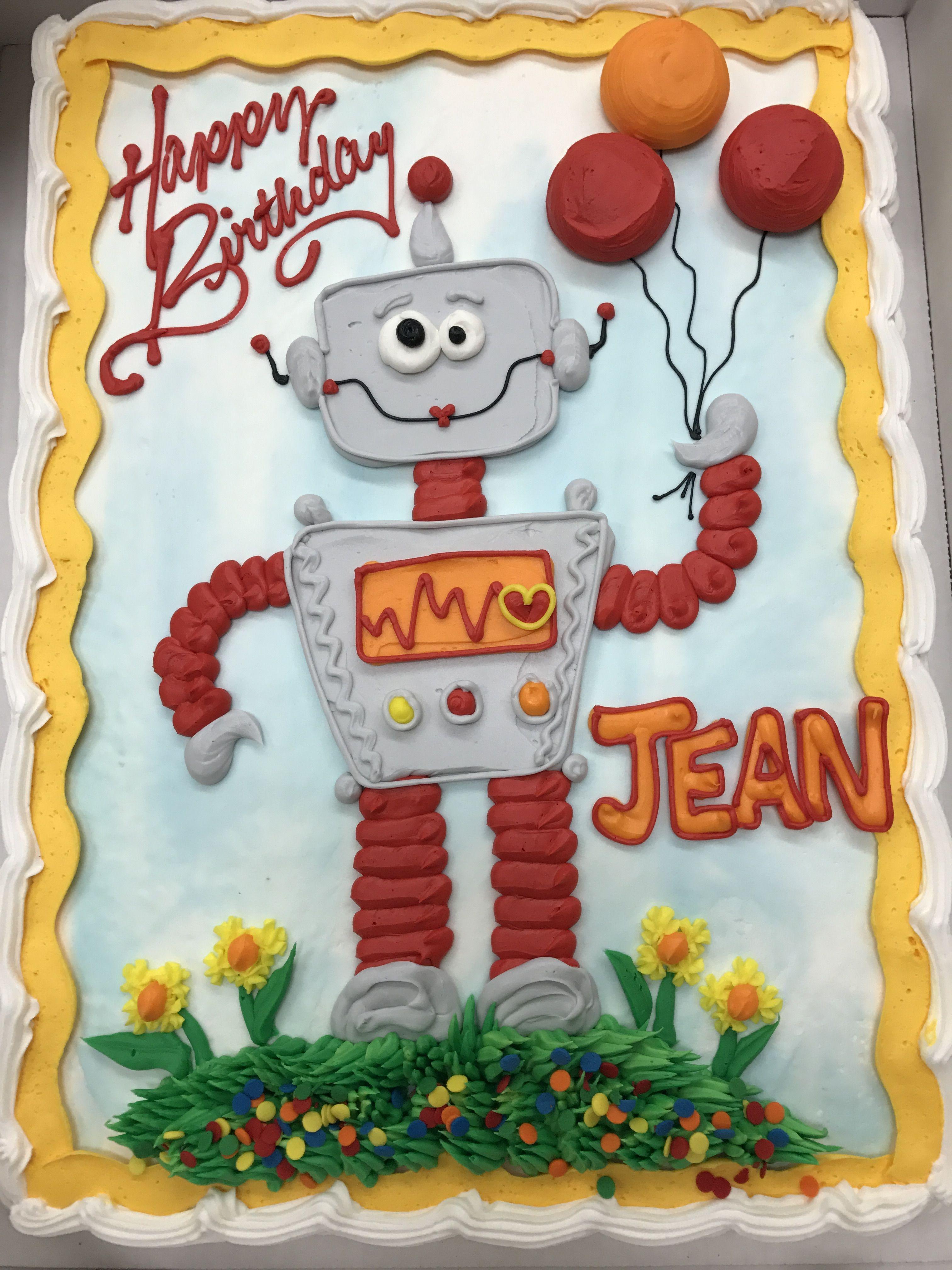 Remarkable Robot Cake Aj Birthday Sheet Cakes Cartoon Birthday Cake Personalised Birthday Cards Epsylily Jamesorg