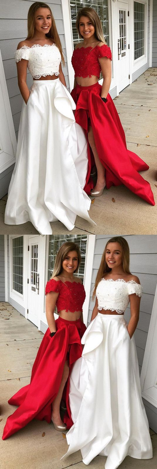 Elegant two pieces off the shoulder prom dresseslong prom dresses