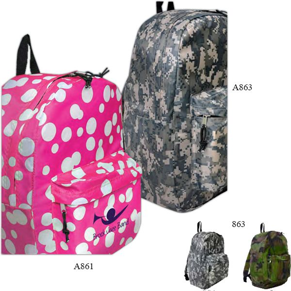 """Camo Backpack...When you """"blend in,"""" the camo backpack is always a stylish standout! With a fun camouflage pattern that turns a simple backpack into a fun fashion accessory, this appealing backpack is constructed from 210 denier polyester and features a zippered main closure with double bungee zipper pulls and a front zippered pocket. At 12"""" W x 16"""" H x 5"""" D, this great giveaway is perfect for any event. Have your custom imprint or logo added. Order yours now!"""