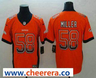 Men s Denver Broncos  58 Von Miller Orange 2018 Fashion Drift Color Rush  Stitched NFL Nike Limited Jersey 6cb18811b