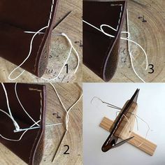 How to hand stitch leather goods, tip on how to hand sew small leather goods - Prim Object Handmade Leather Goods