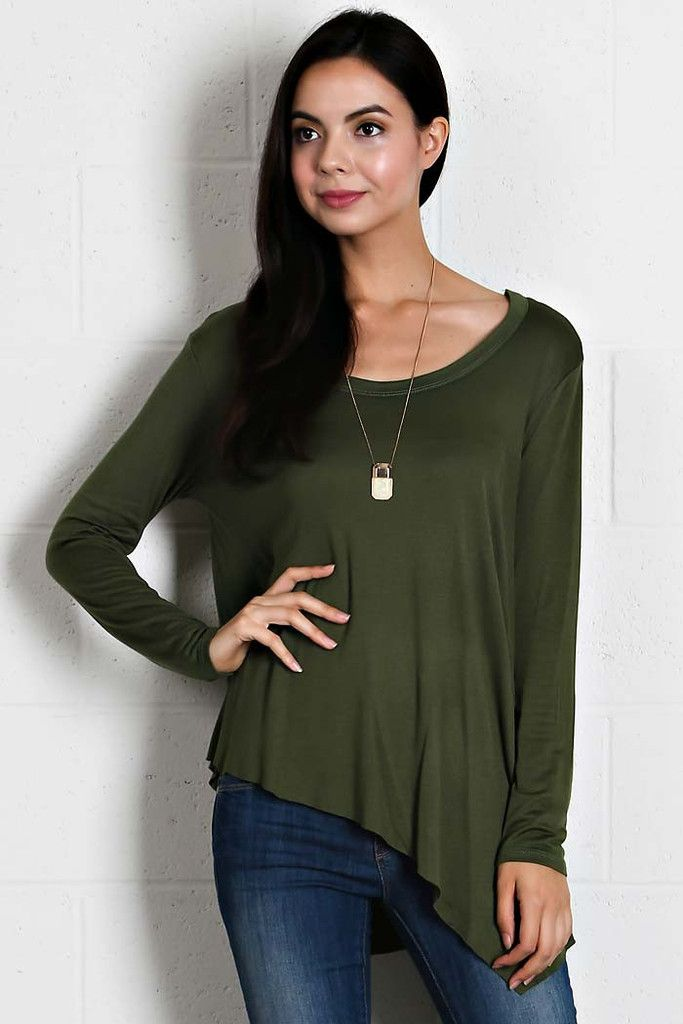 Asymmetrical Solid knit Flowing Top - buy it now at kyootklothing.com