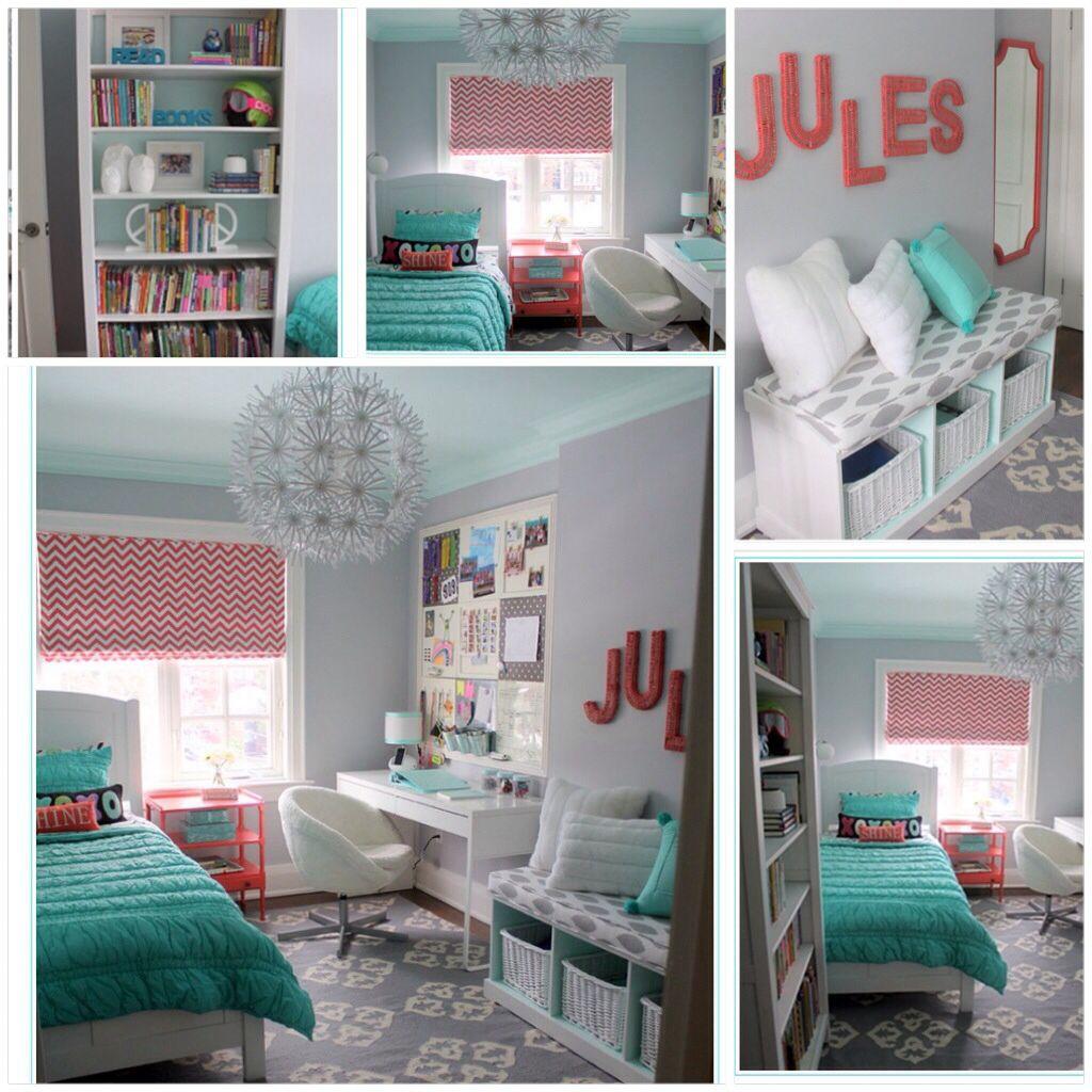 Dormitorio juvenil turquesa rosa gris dormitorio for Habitaciones juveniles nina
