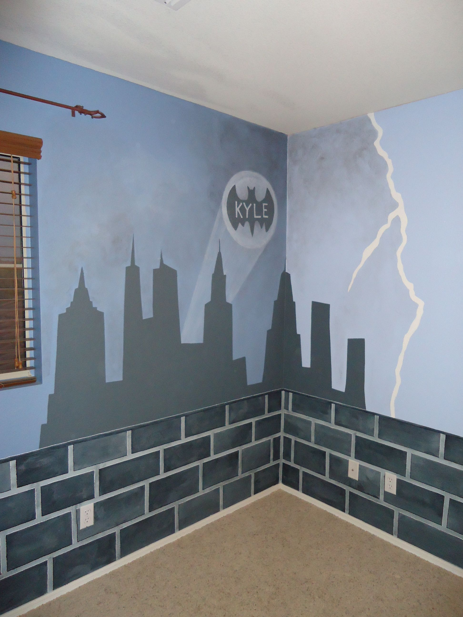 Custom Mural Done In A Boys Room, The Rest Of Gotham City   Brick Border Part 76