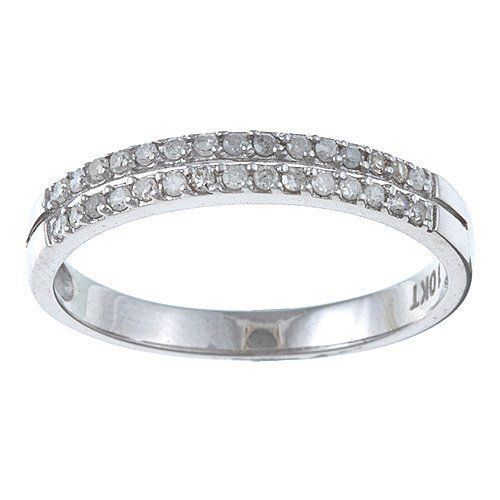 1//10 cttw, Size-9.5 G-H,I2-I3 Diamond Wedding Band in 10K White Gold