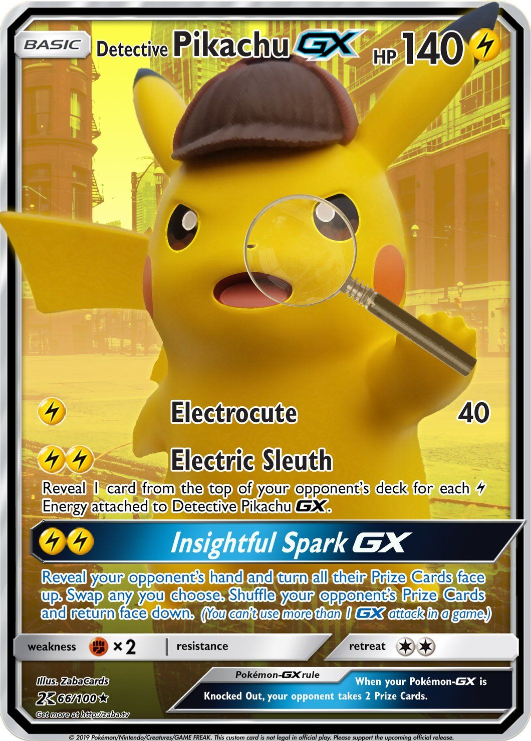 carte pokemon detective pikachu Detective Pikachu GX Custom Pokemon Card (With images) | Pikachu