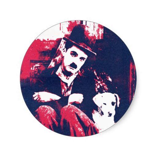 Charlie Chaplin Dog's Life Round Stickers | #zazzle #charliechaplin #silentmovies
