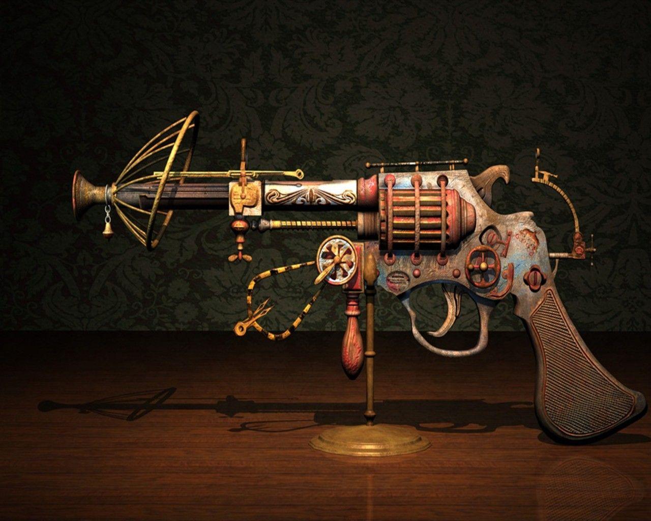 Pistol Steampunk 3D Wallpaper gun revolver pistol