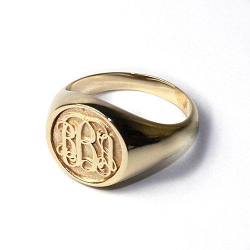 Women S Script Monogram Ring In 14k Gold Signet Ring Etsy Signet Rings Women Monogram Ring Signet Ring Men