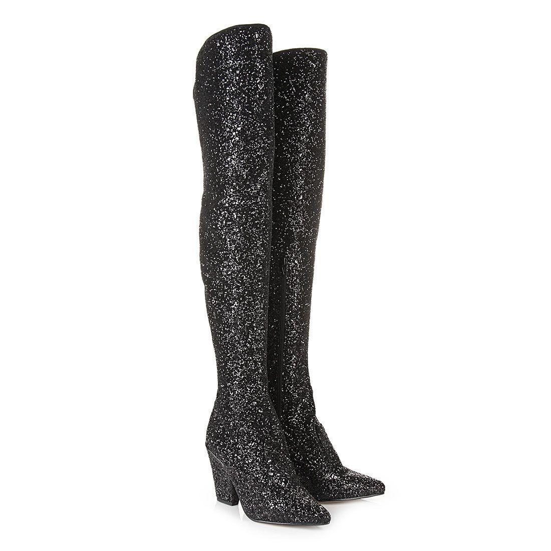 online retailer 8ca1d eb060 Buffalo Schmalschaft-Overknee Stiefel in schwarz Glitzer ...