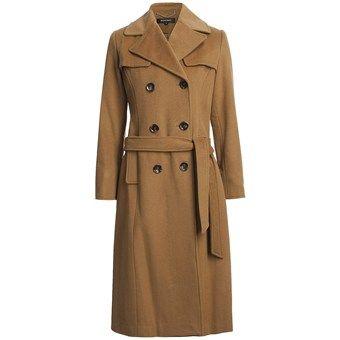 ELLEN TRACY Womens Fall Wool Blend Trench Coat
