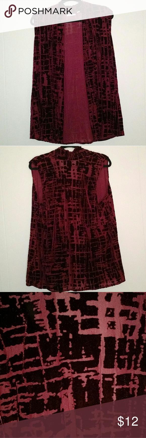 Susan Graver - Velvet Maroon Red Vest Blouse Top This cute vest by Susan Graver ...