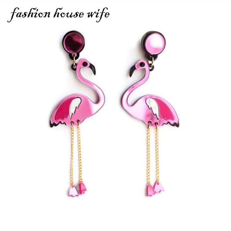 Flamingo Drop Tassel Earrings Women Fashion Jewelry Unique Cute Animal Earrings