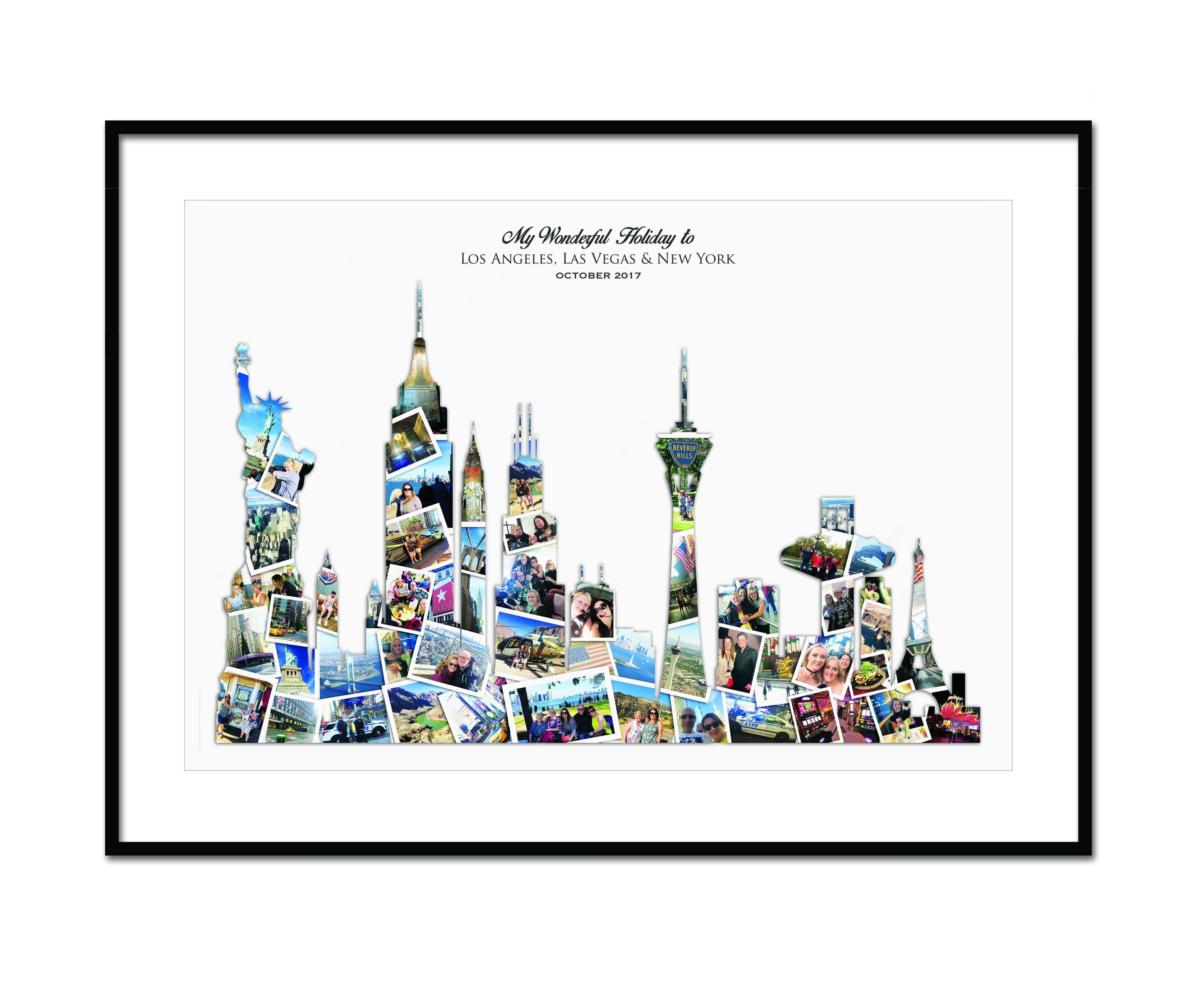 Las Vegas New York Los Angeles City Skyline Collage The Ultimate Gift Give Someone The Opportunity To Have Birthday Collage Wedding Collage City Skyline