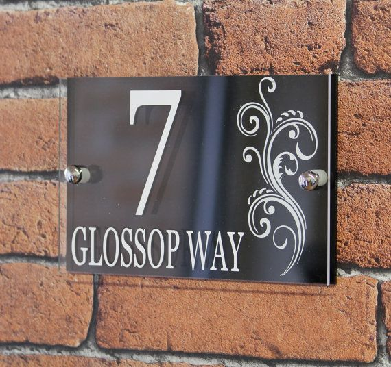 Modern Decorative House Number Plaque With Swirl Design, Address Sign, House  Number Sign,
