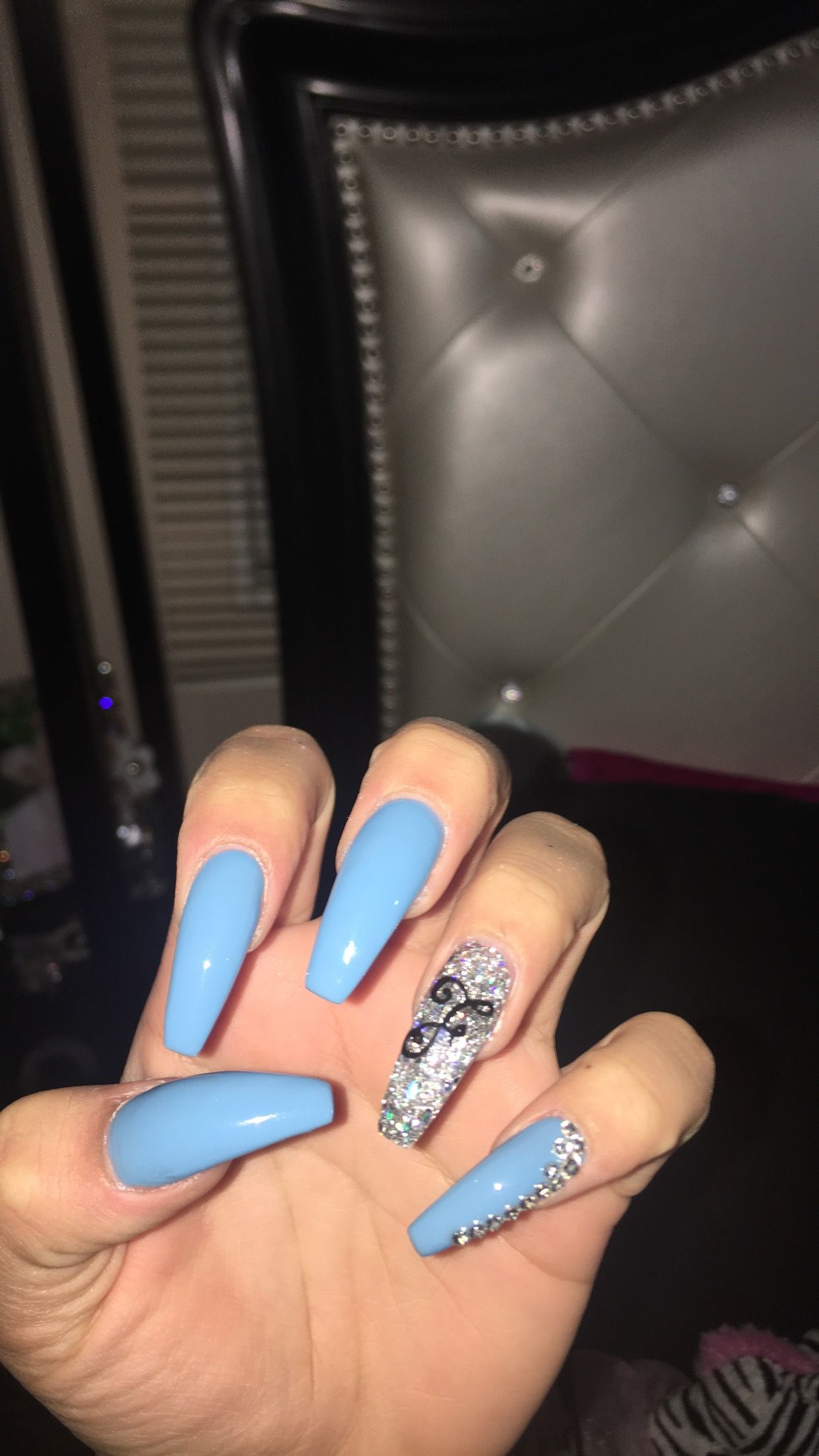 light blue with the initial F and rhinestones on the pinky | Nails ...