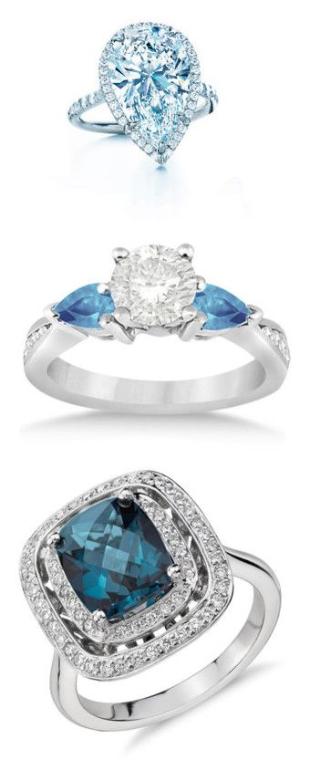 """Engagement Rings & Wedding Bands - Blue Topaz"" by servayne ❤ liked on Polyvore featuring jewelry, rings, white gold, blue topaz engagement rings, round engagement rings, 3 stone engagement rings, blue engagement rings, diamond rings, 14k ring and cushion cut halo diamond ring"