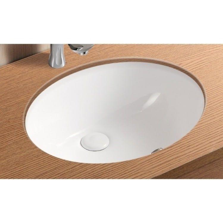 Caracalla CA908-18-No Hole Oval White Ceramic Undermount Bathroom Sink (12 -