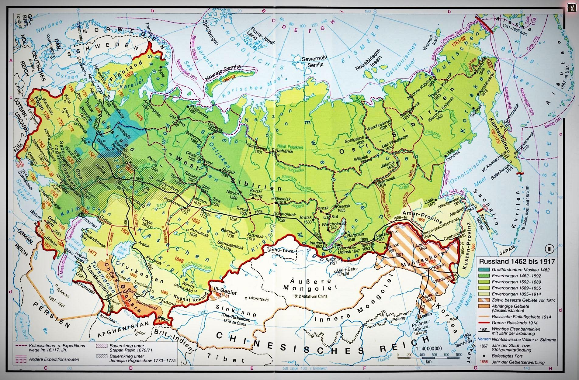 Russland Russia Empire Map Karte Karten Russland Mongolei