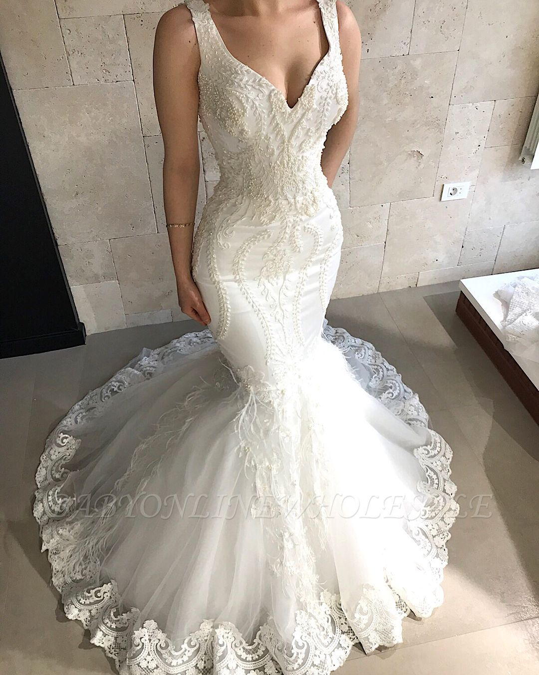 Sophia Tolli Fall 2017 Bridal Sleeveless Thick Strap V Neck Full Embellishment Elegant Fit And Flare Wedding Dresses V Neck Wedding Dress Fitted Wedding Dress [ 1800 x 900 Pixel ]