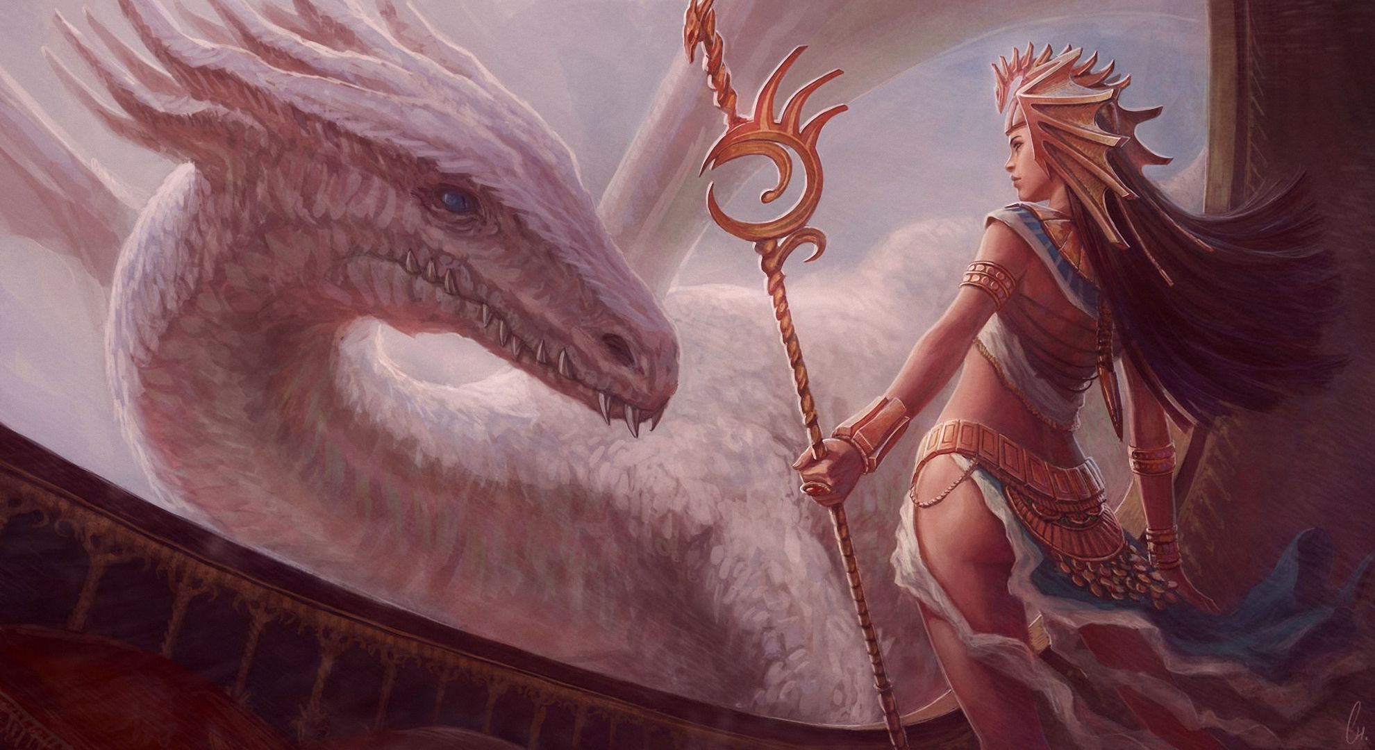 Dragon Mage Staff Fantasy Girls Wallpaper 1980x1080 166419