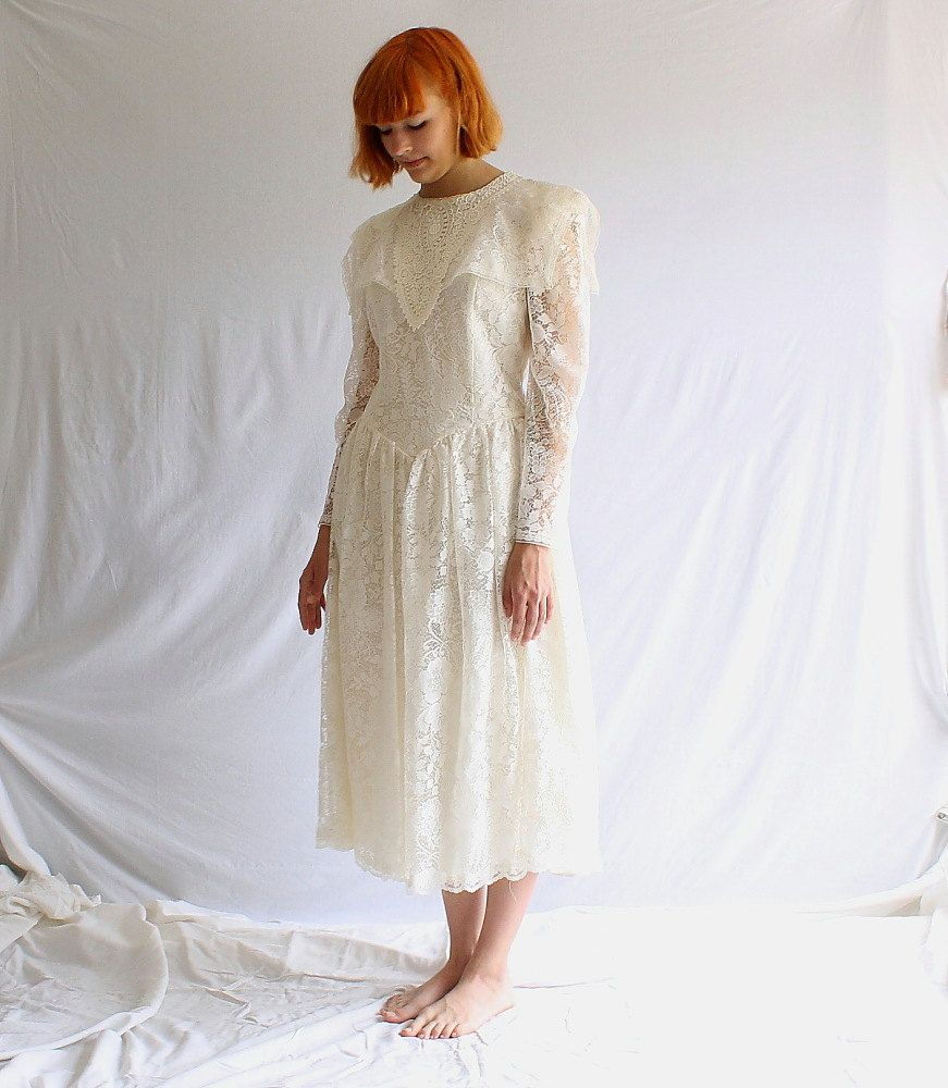 White lace dress vintage  RESERVED vintage Gunne Sax white lace dress wedding s does s