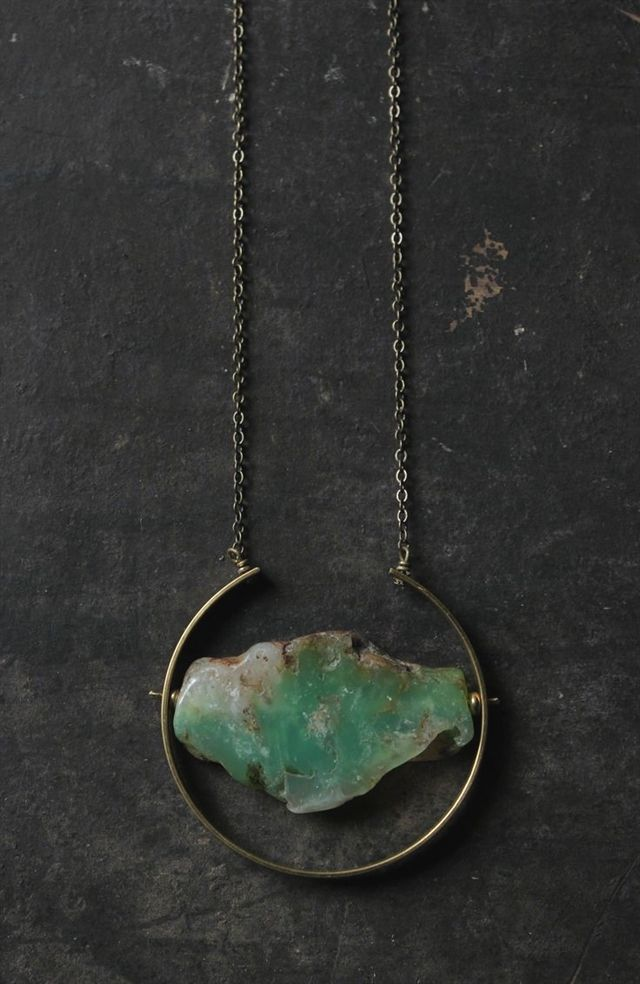 Photo of Chrysoprase Necklace Raw Emerald Necklace Gold Emerald Pendant Necklace Brass …