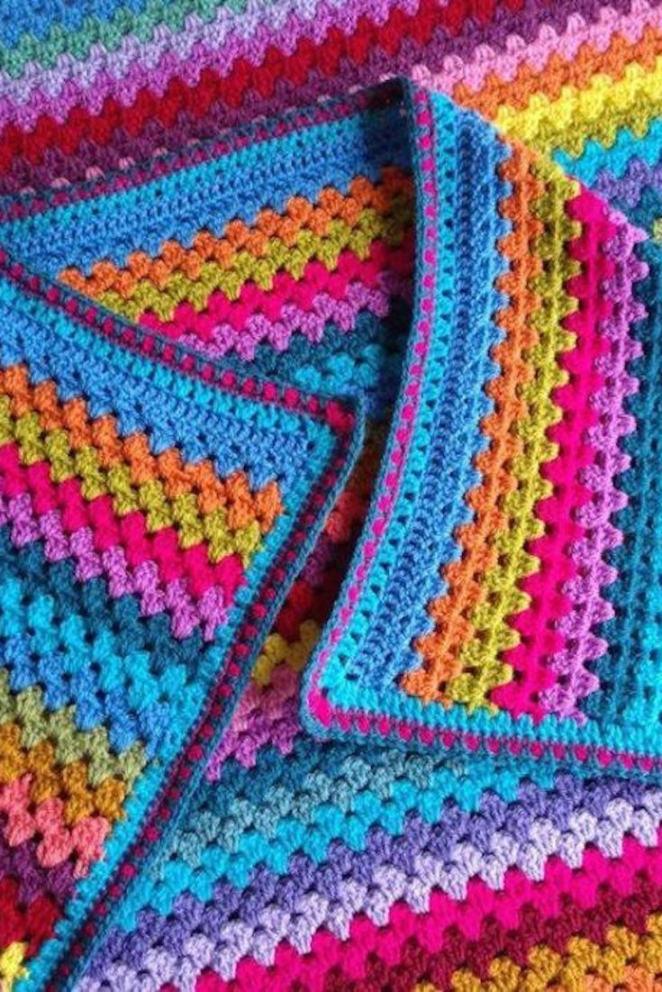 FREE Pattern: How to Crochet Granny Stripes | Manta, Tejido y Coser