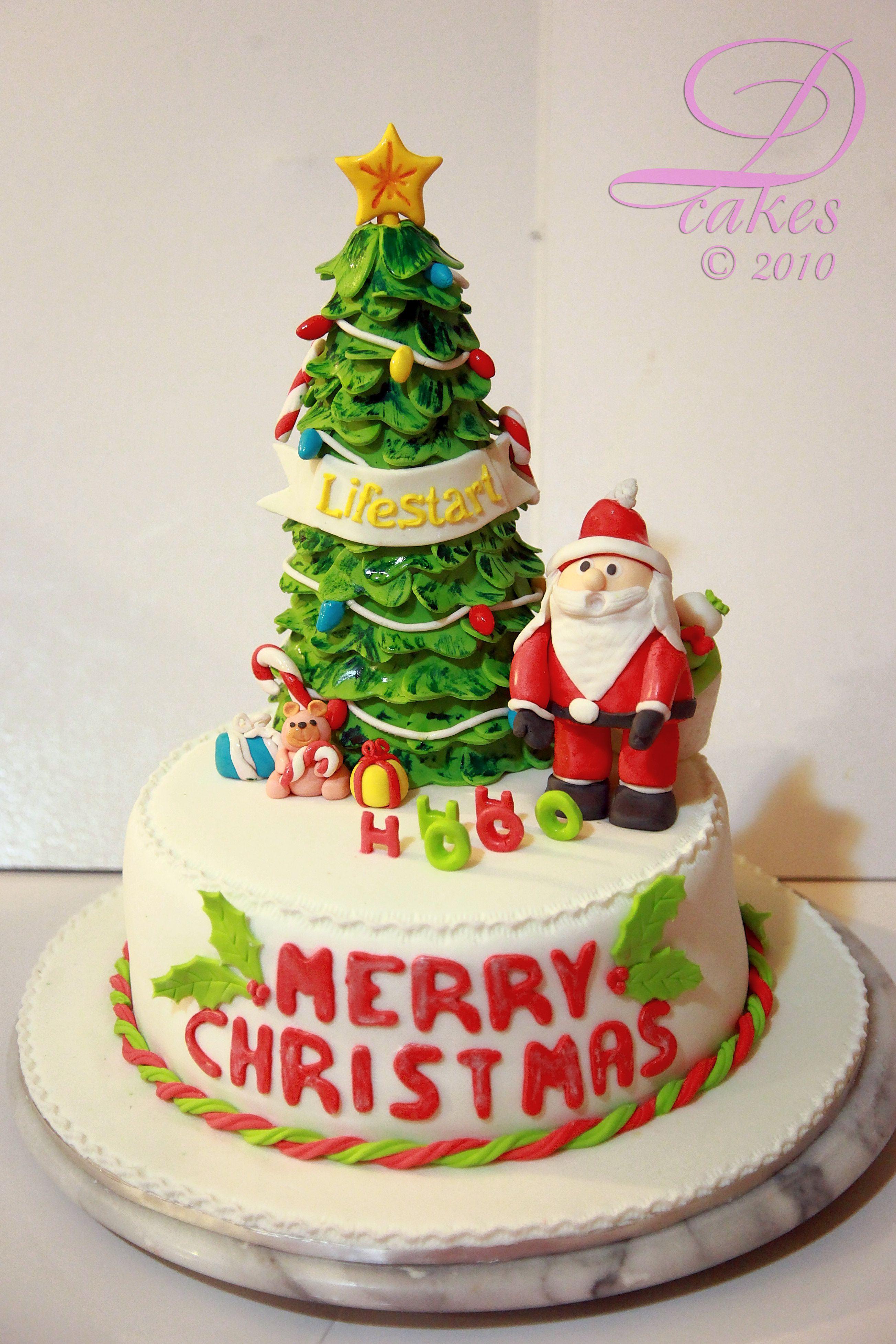 Christmas Tree And Santa Fondant Cake All Fondant Cake With Christmas Tree And Santa Christmas Tree Cake Cake Christmas Tree And Santa