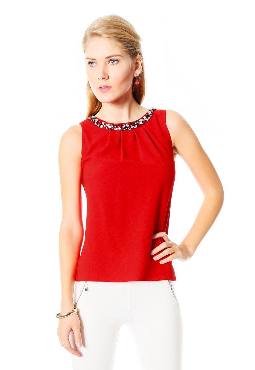 cbff94569 Blusas elegantes rojas 6 | blusas | Blusas, Blusa elegante y Blusas ...