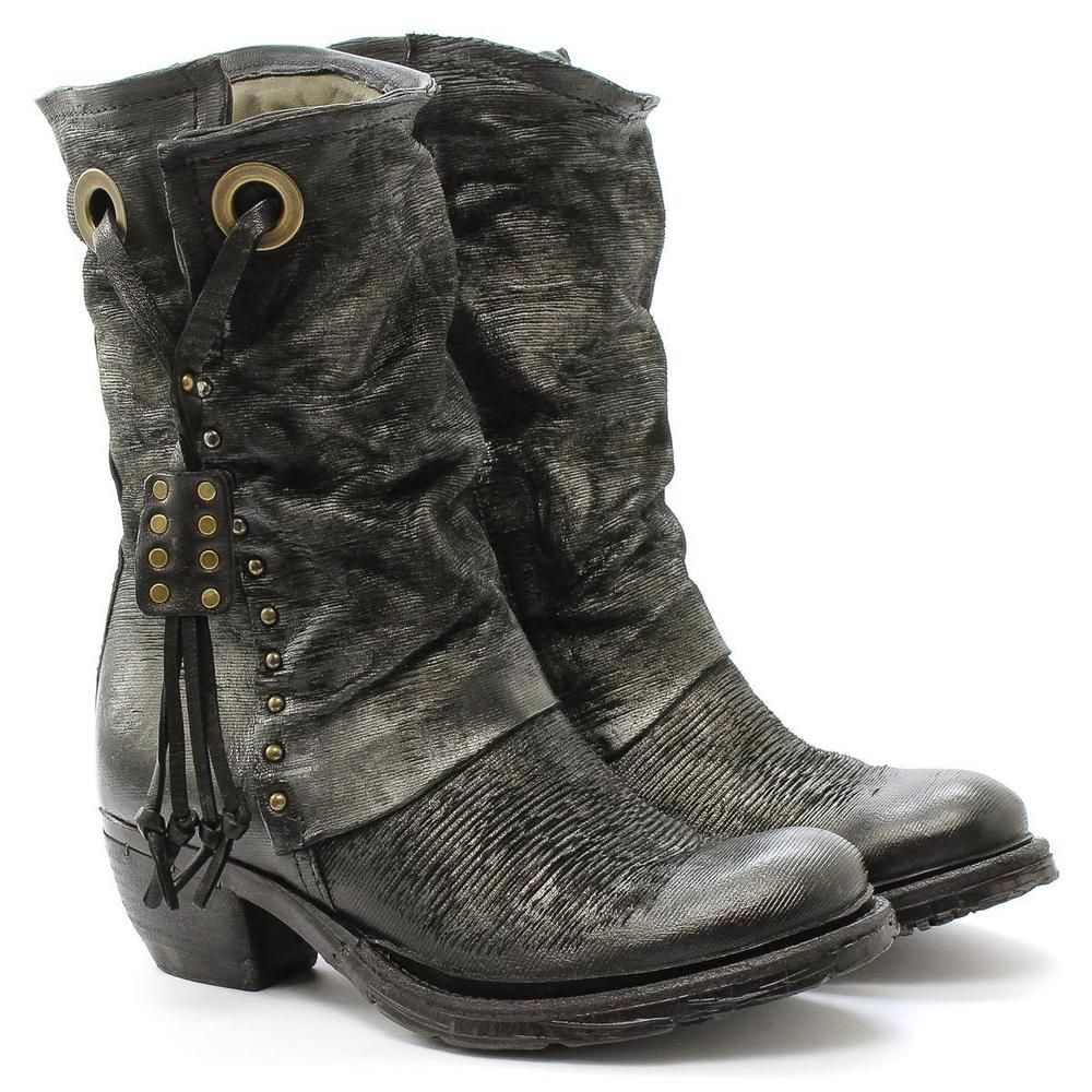 A S 98 Shoes Boot With Heel Crea14 522209 Leather Black As98