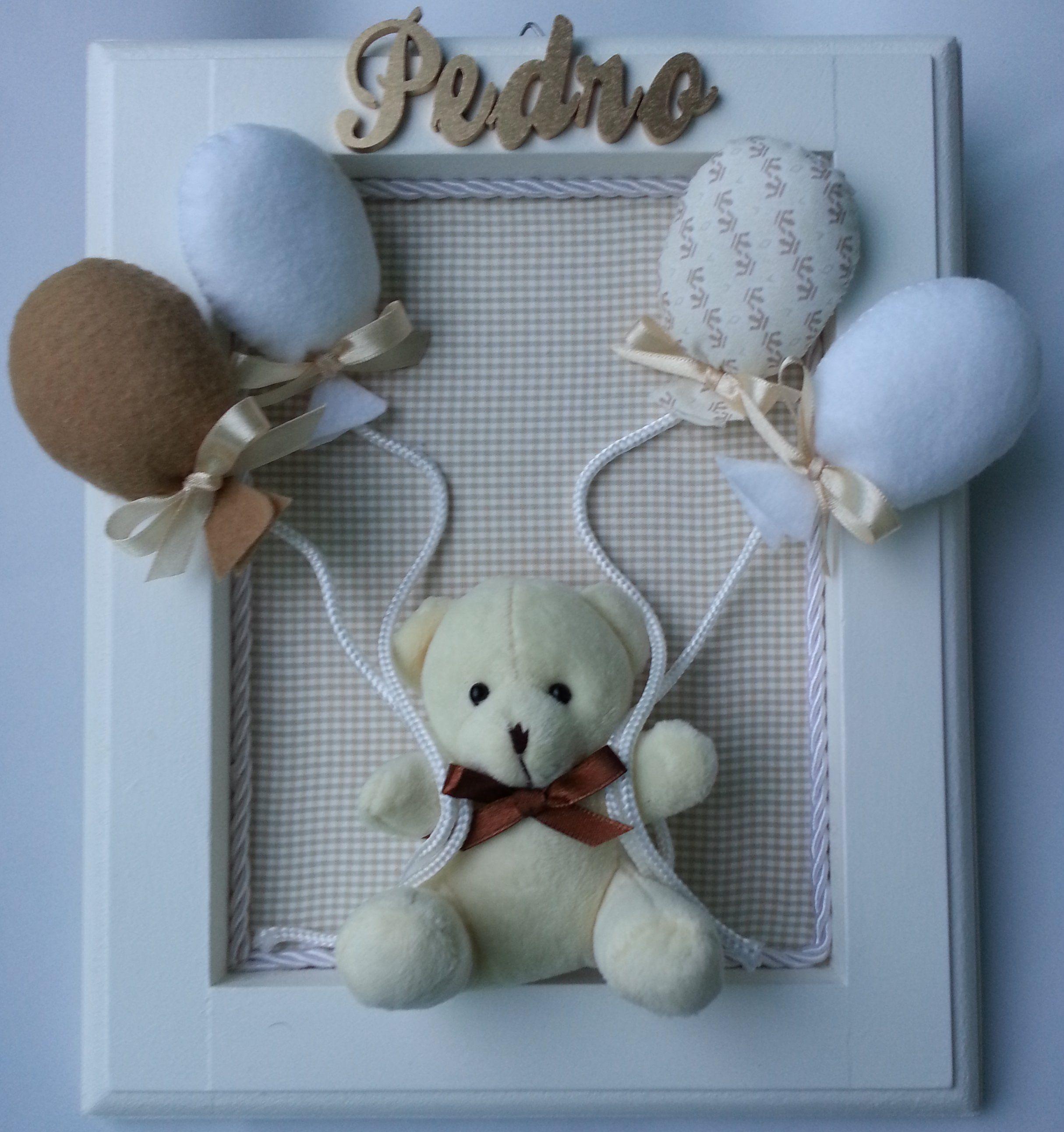 Enfeite para porta da Maternidade com ursinho de pelúcia e balões em feltro 84ae82367422e