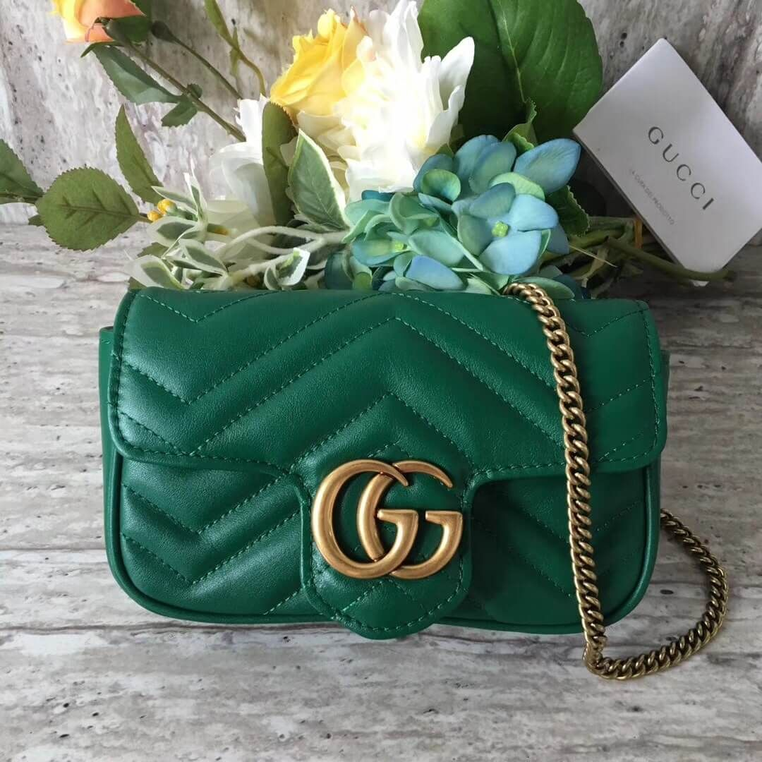 e86ac8d8719 Gucci GG Marmont Matelassé Chevron Super Mini Chain Shoulder Bag 476433  Green