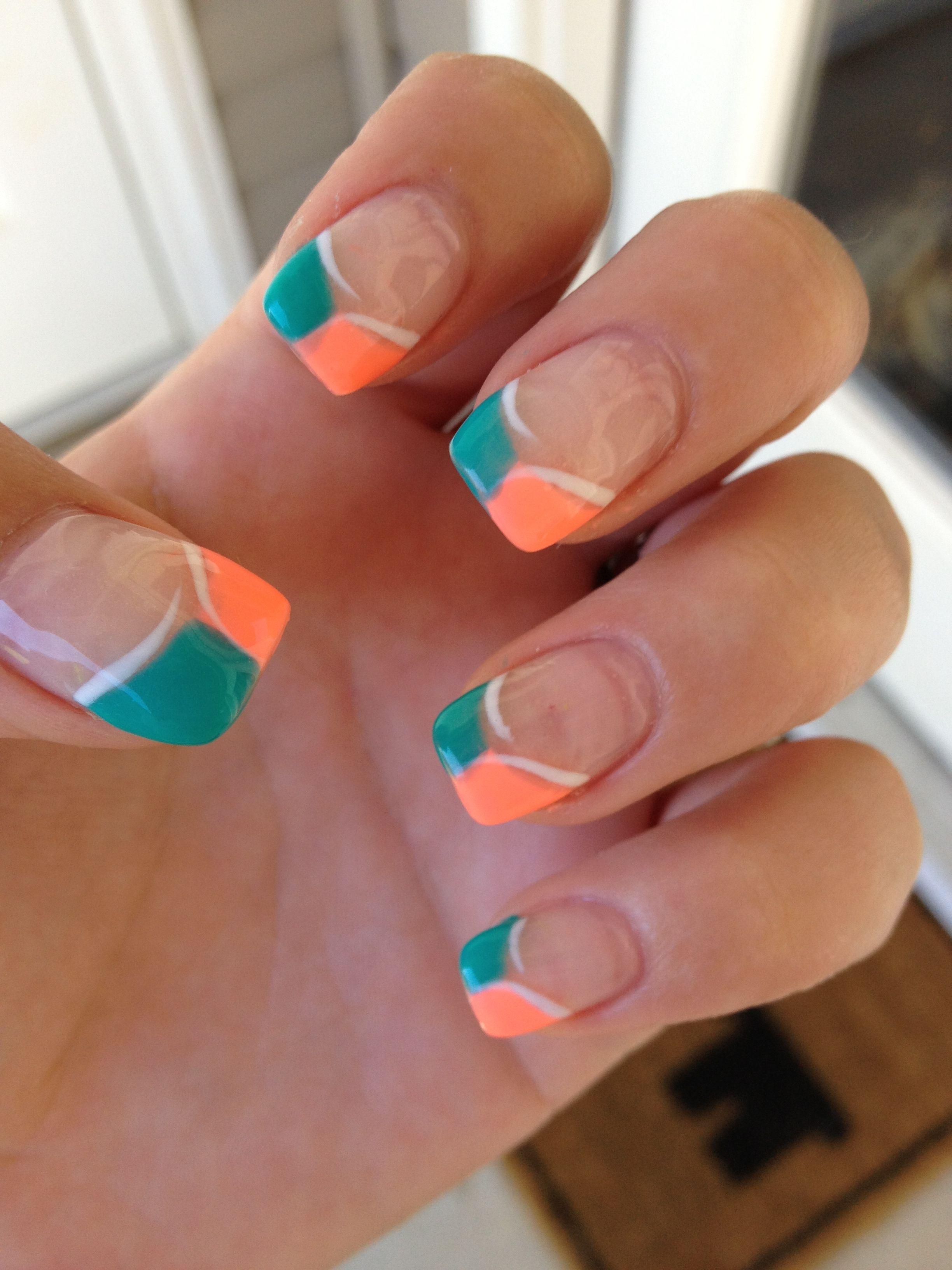 Miami dolphins gel nail art | Nail art | Pinterest | Gel nail art ...