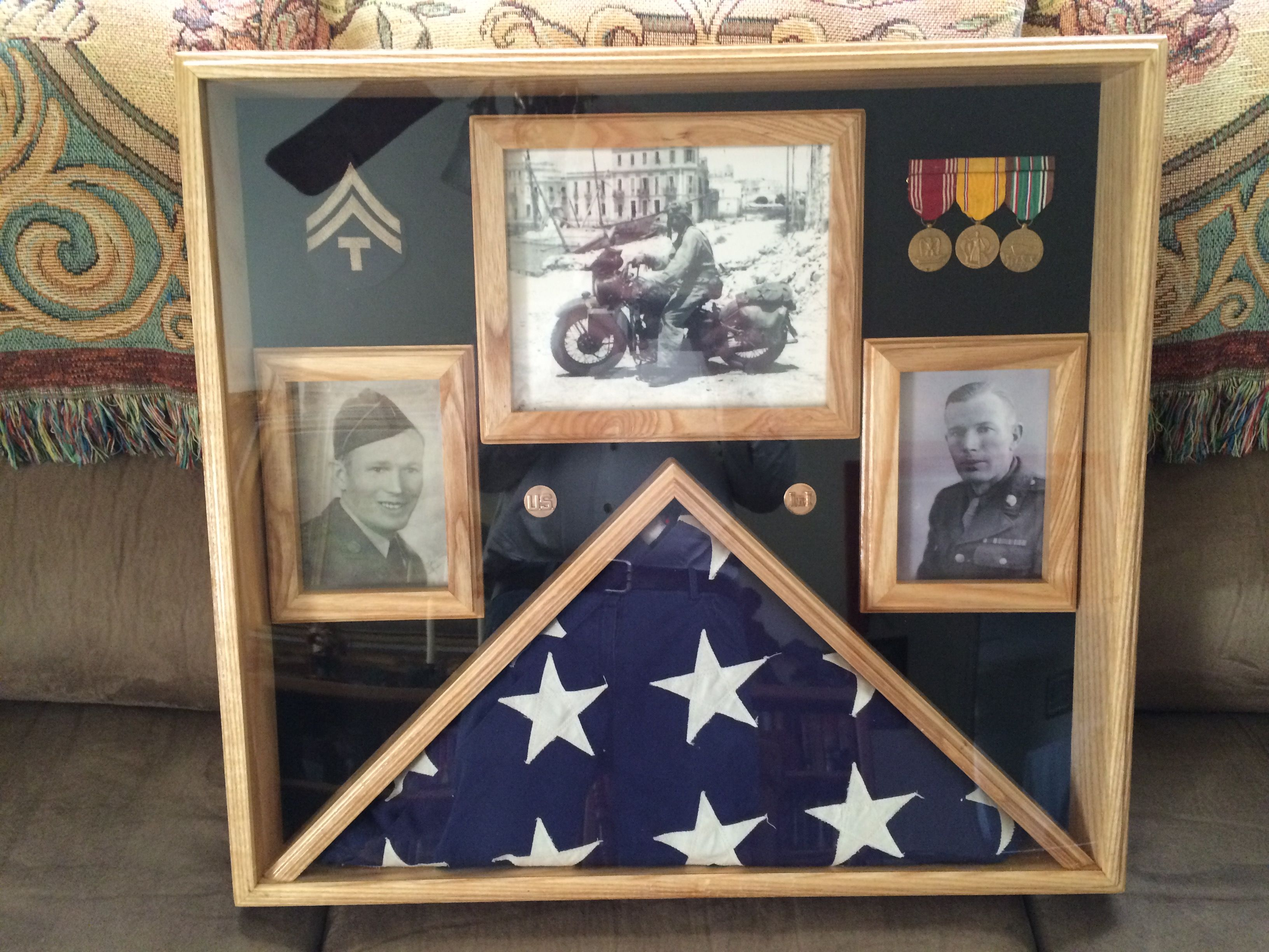 Memorial 5x9 5 Burial Flag Display With 3 Picture Frames Flag Display Flag Display Case Memorial Flag Display
