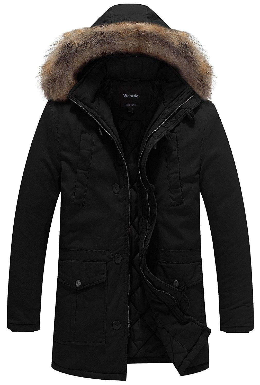 Men S Winter Thicken Cotton Jacket With Fur Hood Black
