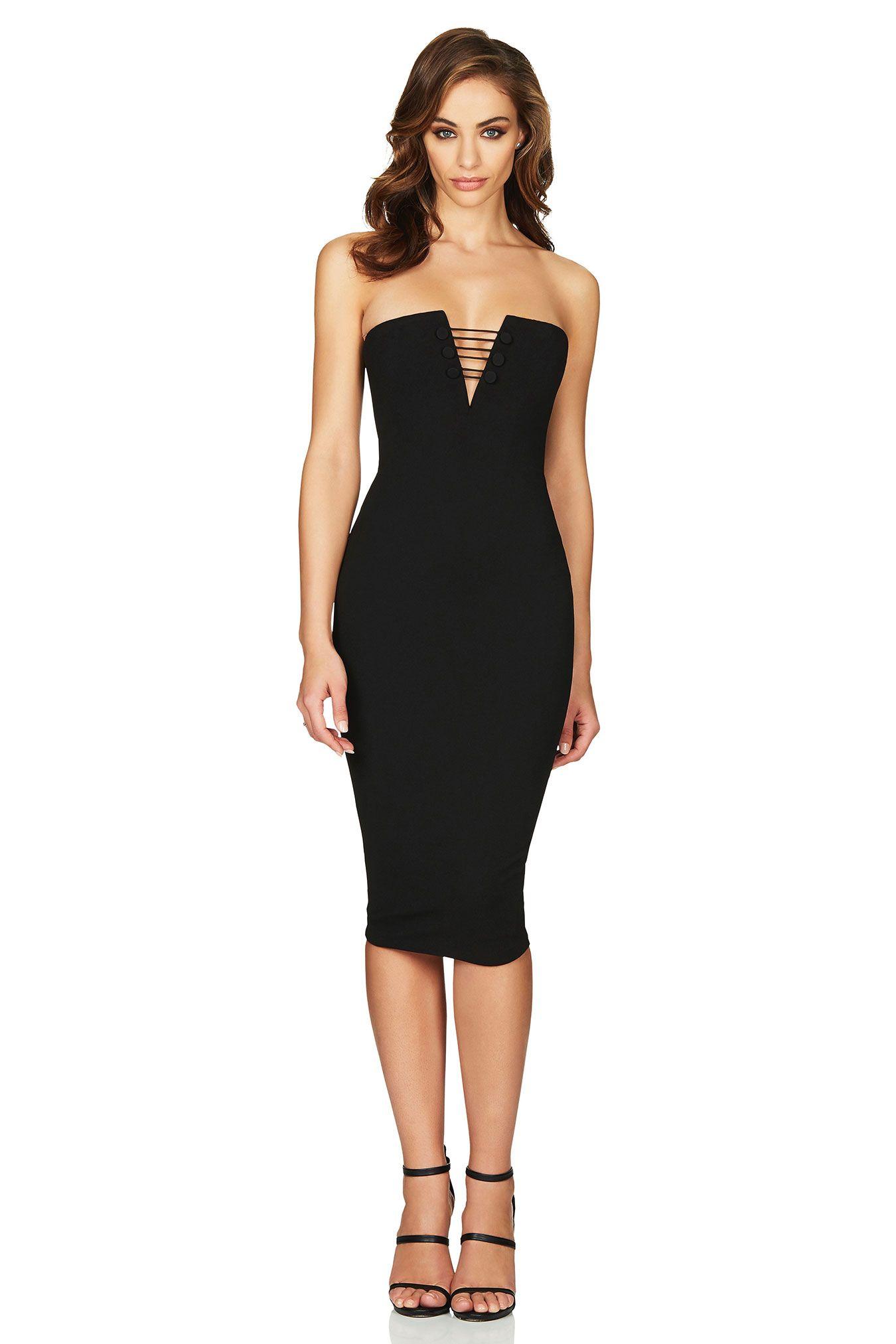 Black Juliette Midi Buy Designer Dresses Online At Nookie Designer Dresses Online Strapless Midi Dress Fashion [ 2025 x 1350 Pixel ]