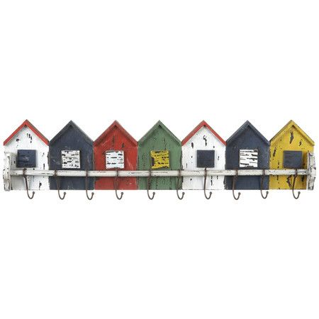 Ten-hook wall rack with weathered house-shaped details.   Product: Wall rackConstruction Material: MDF and metal