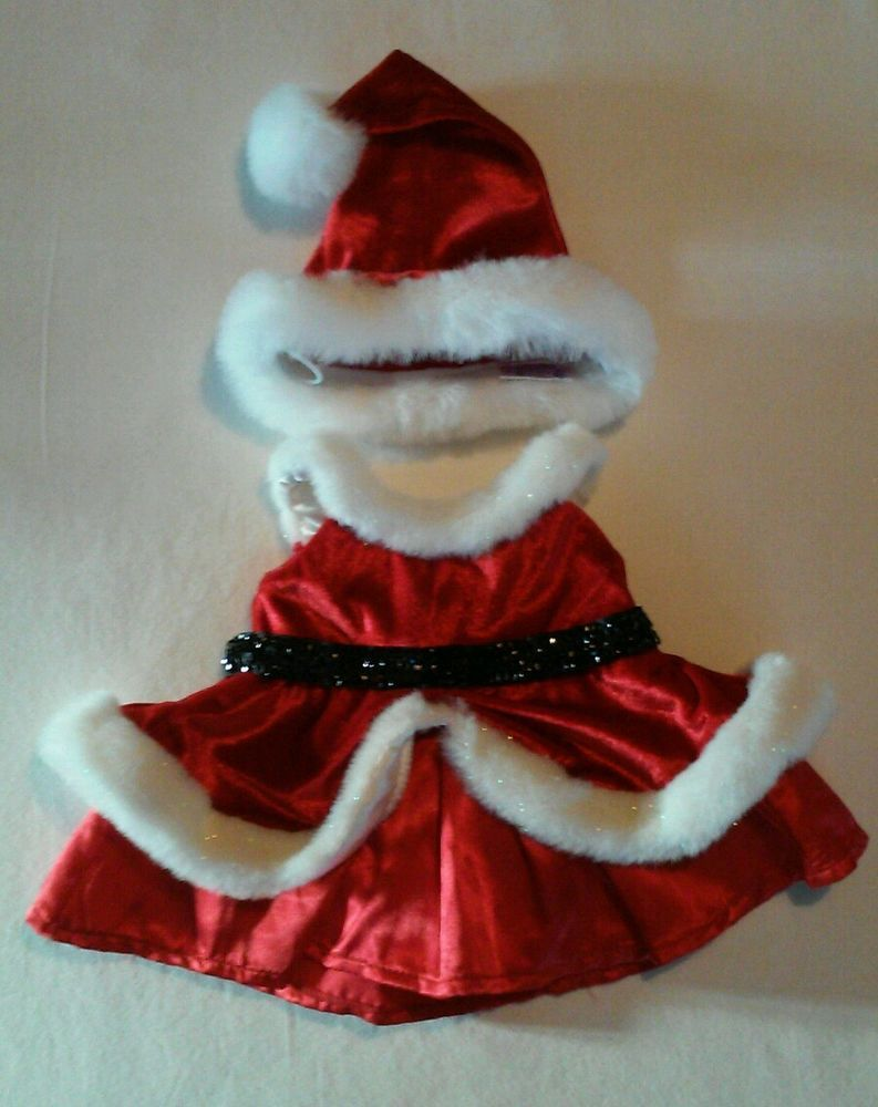Build A Bear Vintage Girl Red Christmas Dress Clothing Accessory Hat
