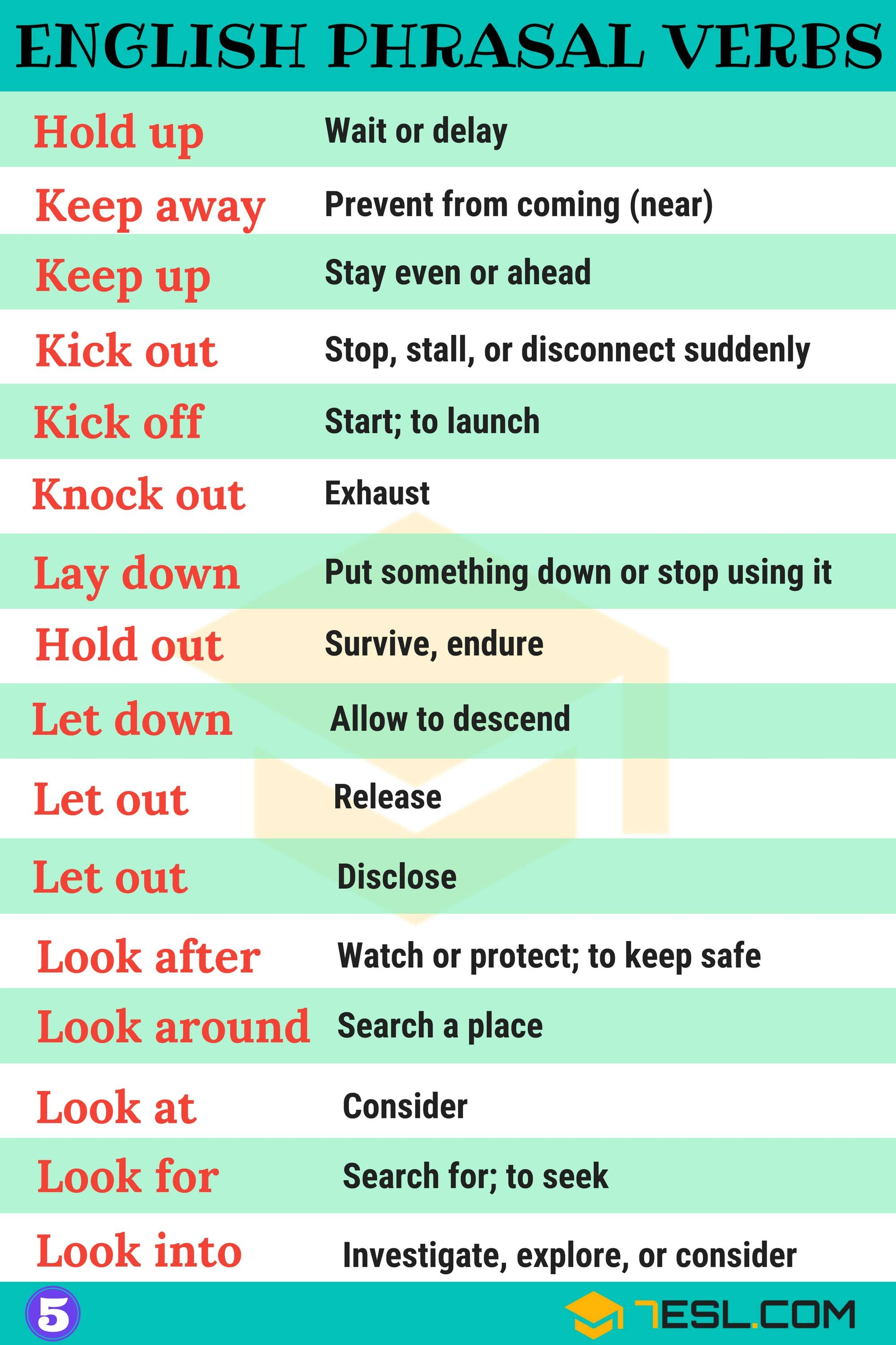 2000 Phrasal Verbs List From A Z To Sound Like A Native 7esl English Verbs English Idioms English Language Learning [ 3000 x 2000 Pixel ]