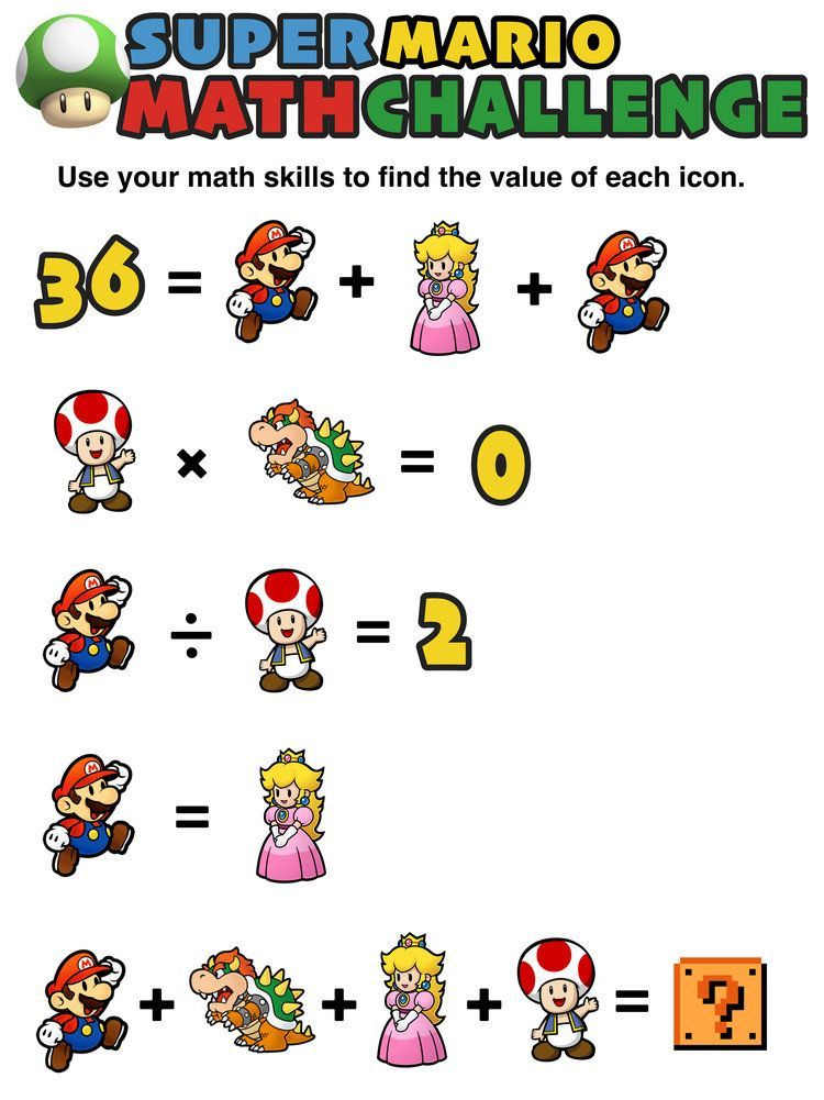Can your kids solve these fun, free, and printable Super Mario math ...