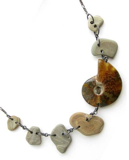 River rock and fossil necklace for nature goddesses. - Authentic Arts | Natural Jewelry