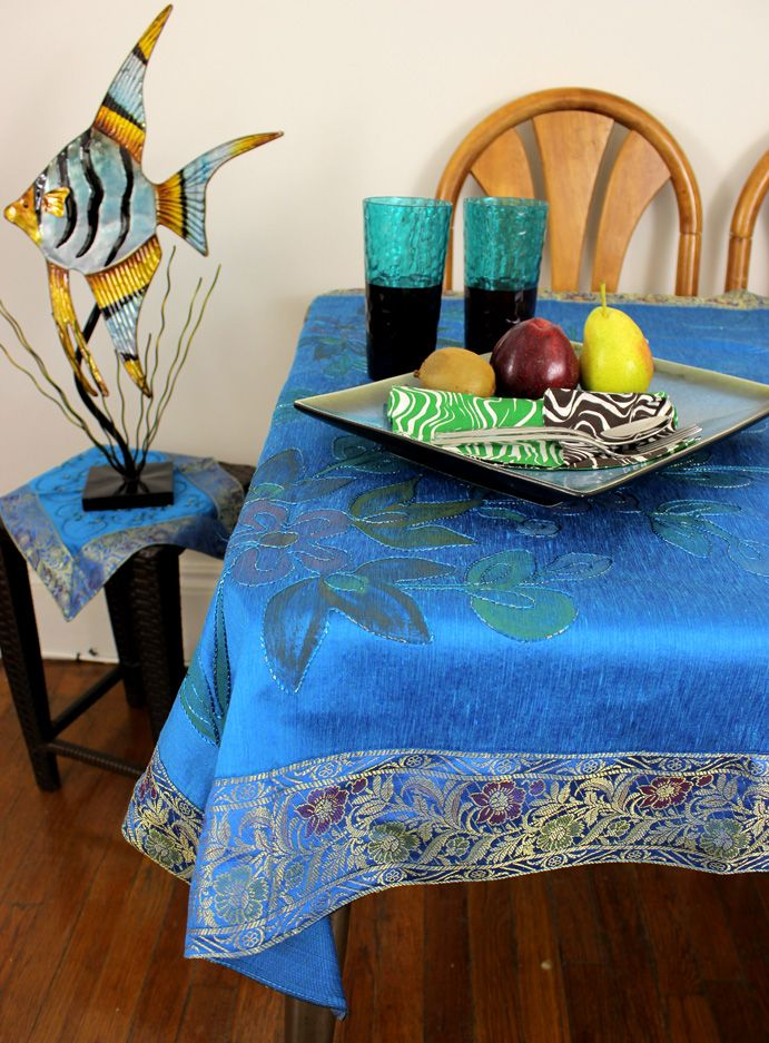 Wonderful Hand Painted Floral (Sky Blue) X Rectangular Tablecloth